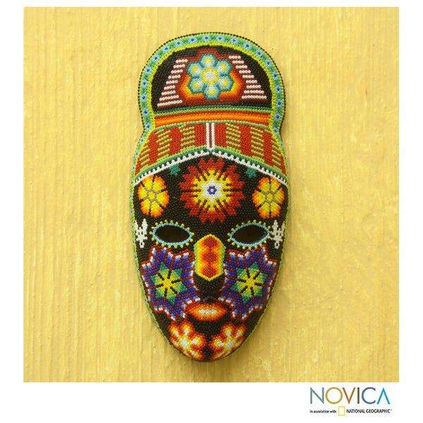 Handcrafted Beadwork 'Red-haired Personage' Huichol Mask (Mexico)