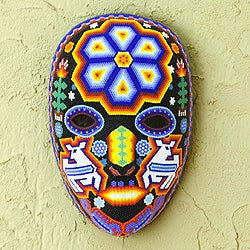 Handcrafted Beadwork 'Shaman Deer' Huichol Mask (Mexico)