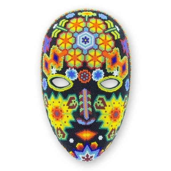 Handmade Beadwork 'The Sun' Huichol Mask (Mexico)