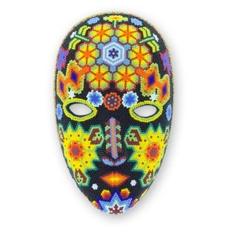 Handmade Beadwork 'The Sun' Huichol Mask (Mexico)