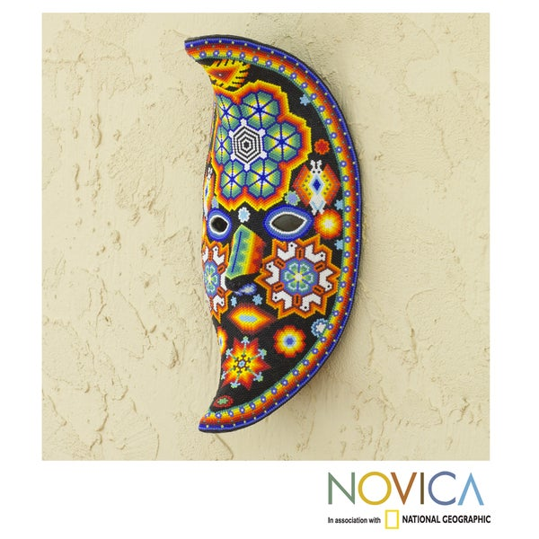 Handcrafted Beadwork 'The Moon's Healing Magic' Huichol Mask  , Handmade in Mexico