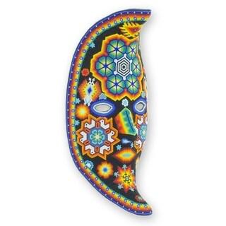 Handmade Beadwork 'The Moon's Healing Magic' Huichol Mask , Handmade in Mexico