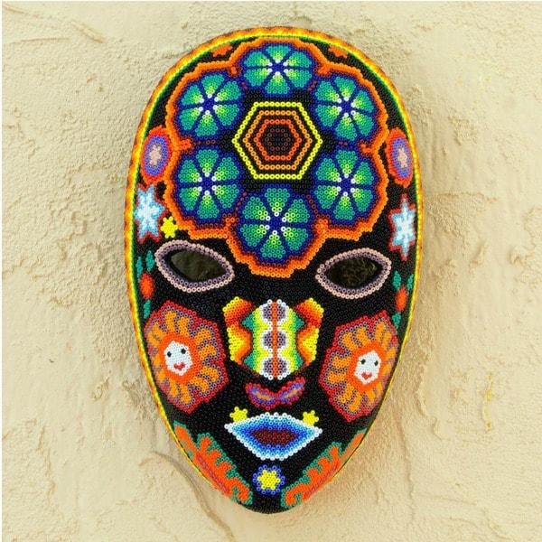 Huichol Charm Handmade Beaded Artwork Red Purple Blue Green Orange Yellow Black White Decorator Accent Wall Art Mask (Mexico)