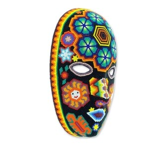 Huichol Charm Handmade Beaded Artwork Red Purple Blue Green Orange Yellow Black White Decorator Accent Wall Art Mask (Mexico)