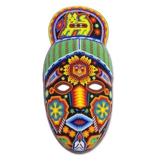 Handmade Beadwork 'Messenger' Huichol Mask (Mexico)