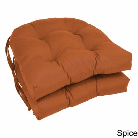 "Blazing Needles 16-inch U-Shaped Tufted Dining Chair Cushions (Set of 2) - 16"" x 16"""