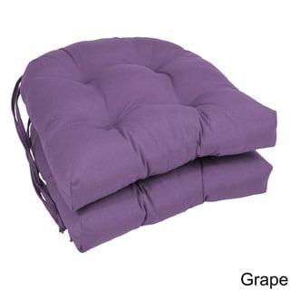 Blazing Needles 16-inch U-Shaped Tufted Twill Dining Chair Cushions (Set of 2)