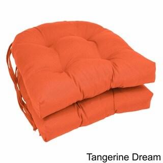 Blazing Needles 16-inch U-Shaped Twill Dining Chair Cushions (Set of 2)