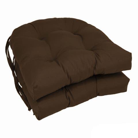 "Blazing Needles 16-inch U-shaped Dining Chair Cushions (Set of 2) - 16"" x 16"""