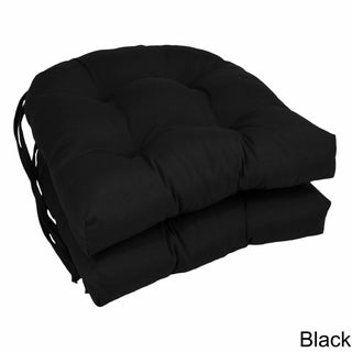 "Blazing Needles 16-inch U-shaped Twill Dining Chair Cushions (Set of 2) - 16"" x 16"" (Option: Black)"