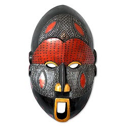 Dan Comic Hand Carved Artisan Tribal Artwork Black Sese Wood with Multicolor Paint and Aluminum African Wall Art Mask (Ghana)
