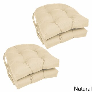 "Blazing Needles 16-inch U-Shaped Twill Dining Chair Cushions (Set of 4) - 16"" x 16"" (Option: Natural)"