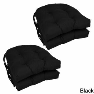 "Blazing Needles 16-inch U-Shaped Twill Dining Chair Cushions (Set of 4) - 16"" x 16"" (Option: Black)"