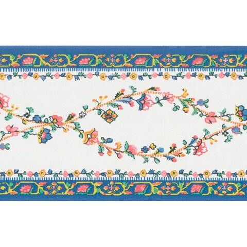 Brewster Blue Brocade Floral Border Wallpaper