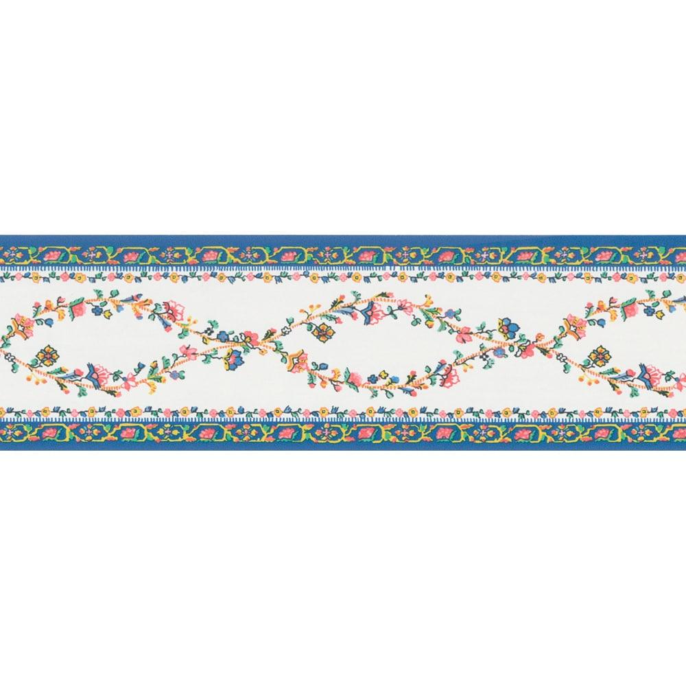 Shop Brewster Blue Brocade Floral Border Wallpaper Overstock