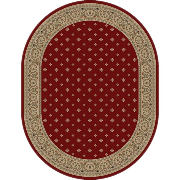 Well Woven Dallas Formal European Floral Border Diamond Field Red, Beige, Ivory Oval Area Rug - 5'3 x 6'10