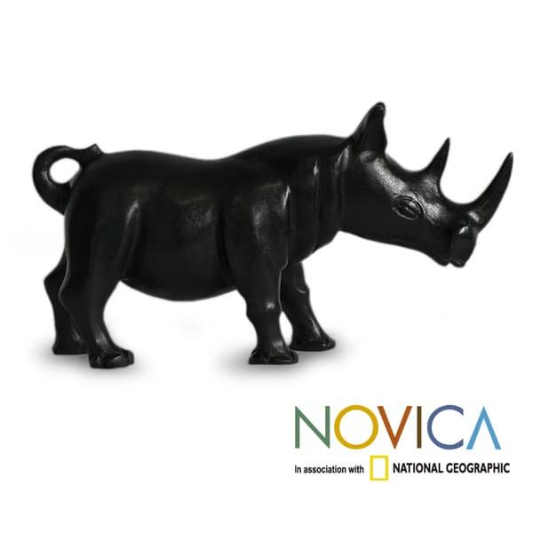 Handcrafted Sese Wood 'Black Rhino' Sculpture (Ghana)