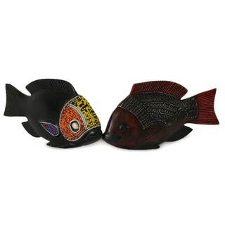 Set of 2 Beaded Sese Wood 'African Tilapia Fish' Sculptures (Ghana)