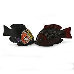 Set of 2 Beaded Sese Wood 'African Tilapia Fish' Sculptures (Ghana)
