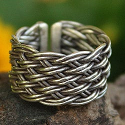 Handmade Sterling Silver 'Woven Rattan' Ring (Thailand)