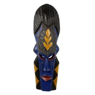 Handmade Sese Wood 'Royal Identification' African Mask (Ghana)