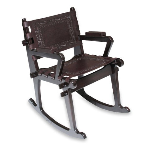 Dark Colonial Country Rich Brown Handmade Leather and Mohena Wood Rocking Chair (Peru)