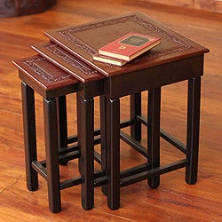 Colonial Guard Set Of 3 Handmade Hand Tooled Leather Brown Mohena Wood Home  Decor Furniture Square