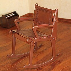 Colonial Country Artisan Designer Handmade Hand Tooled Fine Leather Brown Mohena Wood Home Decor Furniture Rocking Chair (Peru)