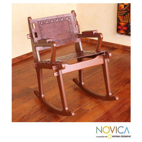 Handmade Mohena Wood And Leather U0026#x27;Modern Incau0026#x27; Rocking Chair