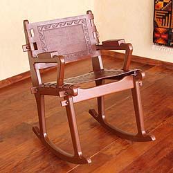 Handmade Mohena Wood and Leather 'Modern Inca' Rocking Chair (Peru)