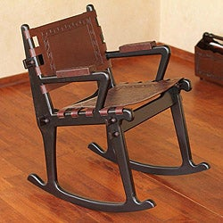 Handmade Mohena Wood and Leather Rocking Chair 'Inca Memories' (Peru)