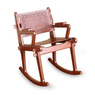 Handmade Mohena Wood and Leather Rocking Chair 'Inca Memories' (Peru)