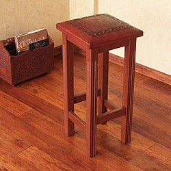 Handcrafted Mohena and Leather 'Andean Empress' Bar Stool (Peru)
