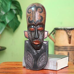Handcrafted Sese Wood 'A Great King' African Mask (Ghana)