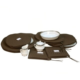6 Pieces of Fine China Dinnerware Accessory Storage Set - Deluxe Quilted Plush Microfiber - Contents Label Window - Brown