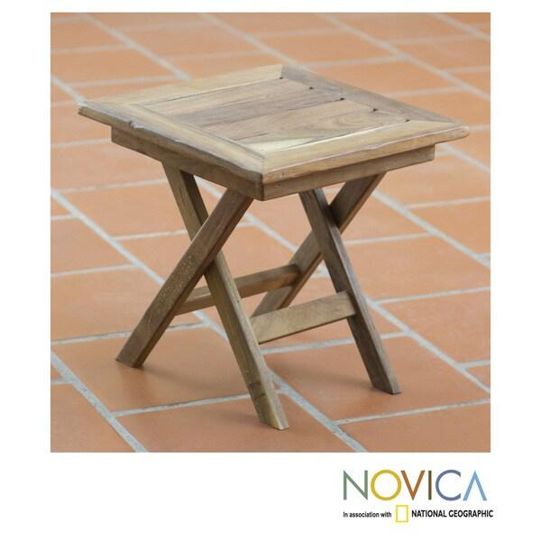 Handcrafted Tzalam Wood 'Paradise Hacienda' Folding Table (Mexico)