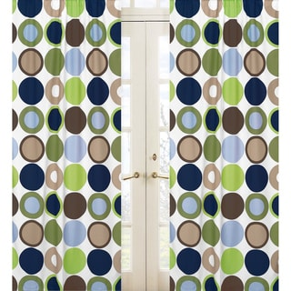 Sweet Jojo Designs Navy Blue, Green, Brown, White and Taupe Designer Dot 84-inch Window Treatment Curtain Panel Pair