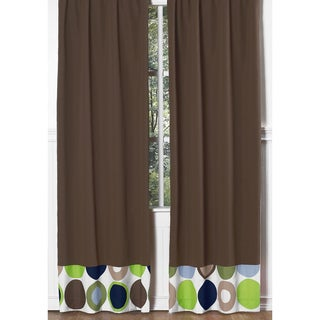 Sweet Jojo Designs Navy Blue, Green, Brown, White and Taupe Designer Dot Collection 84-inch Window Treatment Curtain Panel Pair