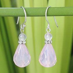 Handmade Sterling Silver 'Feminine Pink' Rose Quartz Earrings (Thailand)