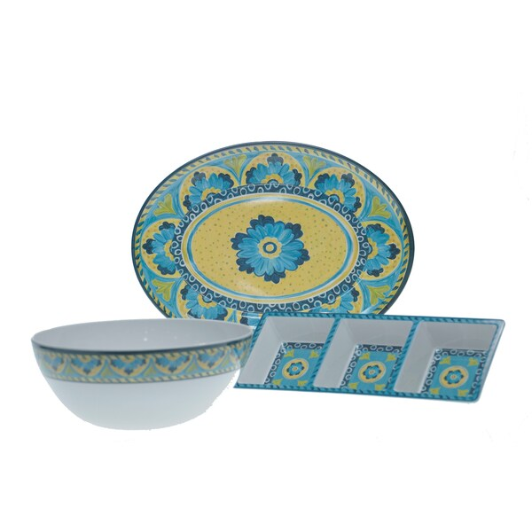 Certified International Mexican Tile 3-piece Serving Set