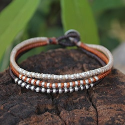 Handcrafted Silver Accent 'Cool Thai Autumn' Bracelet (Thailand)