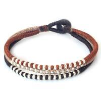 Handmade Silver Accent 'Cool Thai Autumn' Bracelet (Thailand)