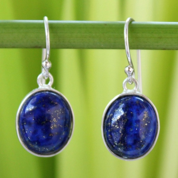 Majestic Blue Lapis Lazuli Polished Oval Gemstones in 925 Sterling Silver Handmade Artisan Womens Drop Earrings (Thailand)