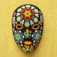 Handmade Beadwork 'Scorpions and Deer' Huichol Mask (Mexico)