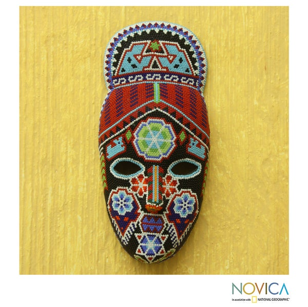 Handcrafted Beadwork 'Crowned Deer' Huichol Mask (Mexico)