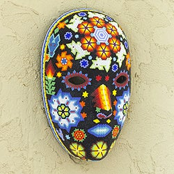 Handcrafted Beadwork 'Peyote Blossom' Huichol Mask (Mexico)