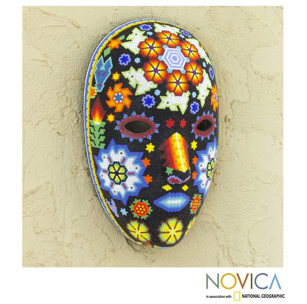 Handmade Beadwork 'Peyote Blossom' Huichol Mask (Mexico)
