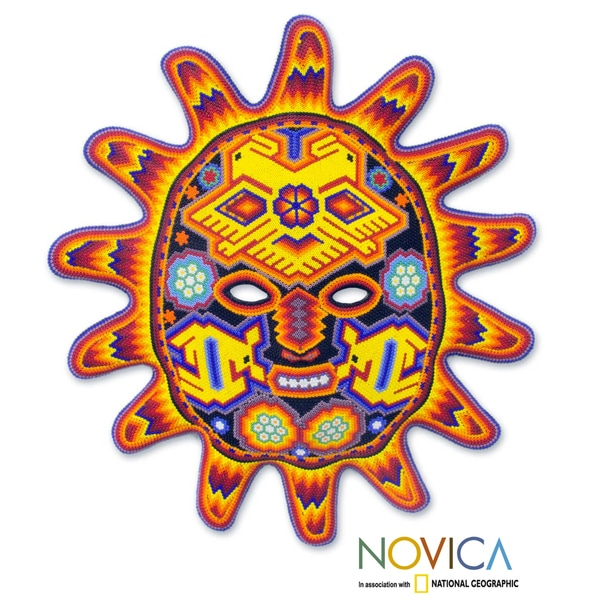 Handcrafted Beadwork 'Red Sunset' Huichol Mask (Mexico)