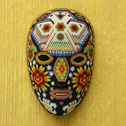 Handcrafted Beadwork 'Eagle Protector' Huichol Mask (Mexico)