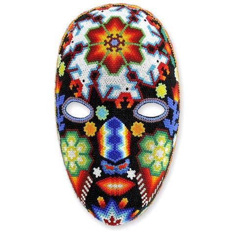 Handmade Beadwork Dance of the Deer Huichol Mask (Mexico)